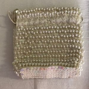 Drawstring Bag with Beads & Sequins- Ivory
